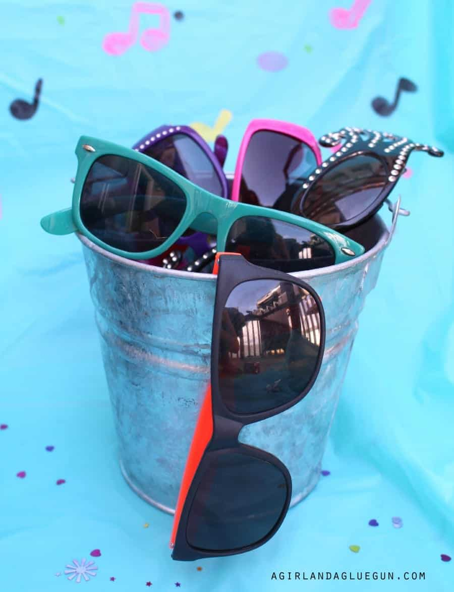 bucket of sunglasses