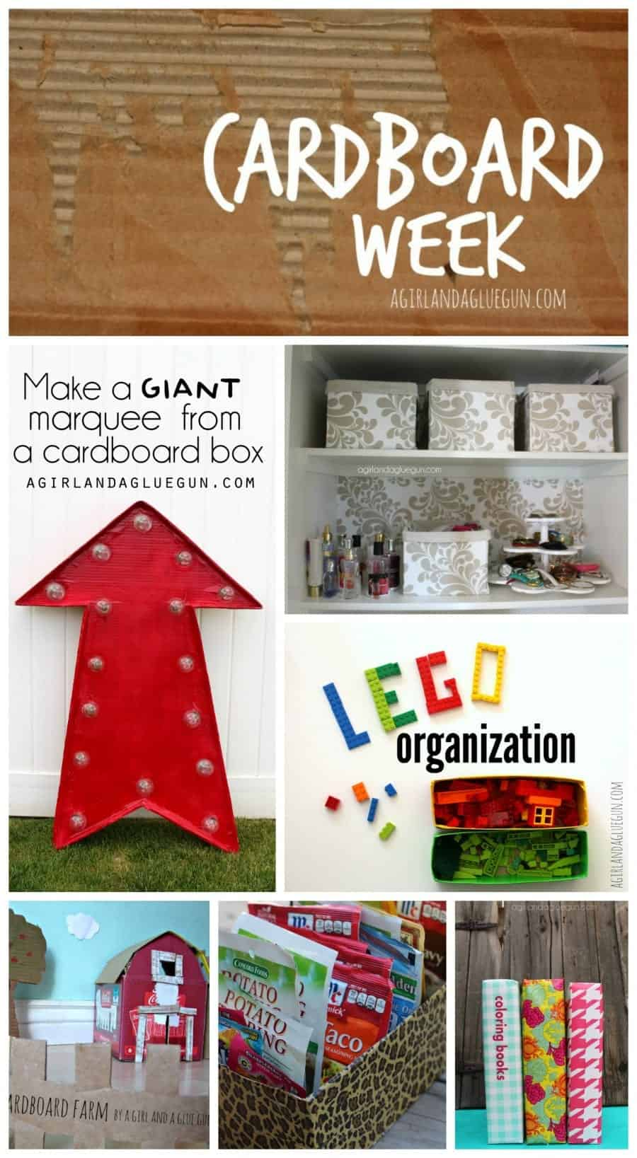 cardboard week on a girl and a glue gun