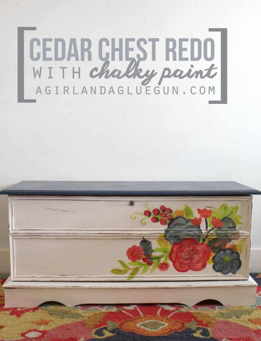 cedar chest redo with chalky paint