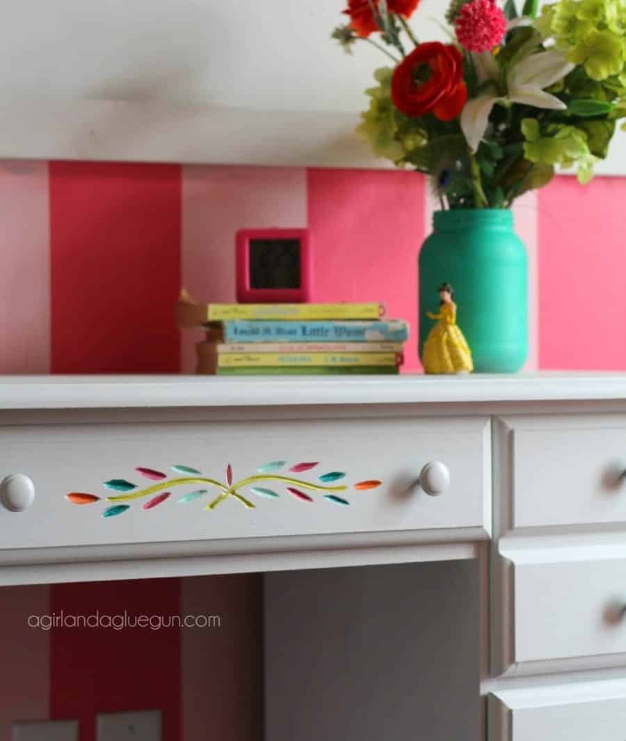 color desk detail for girls room