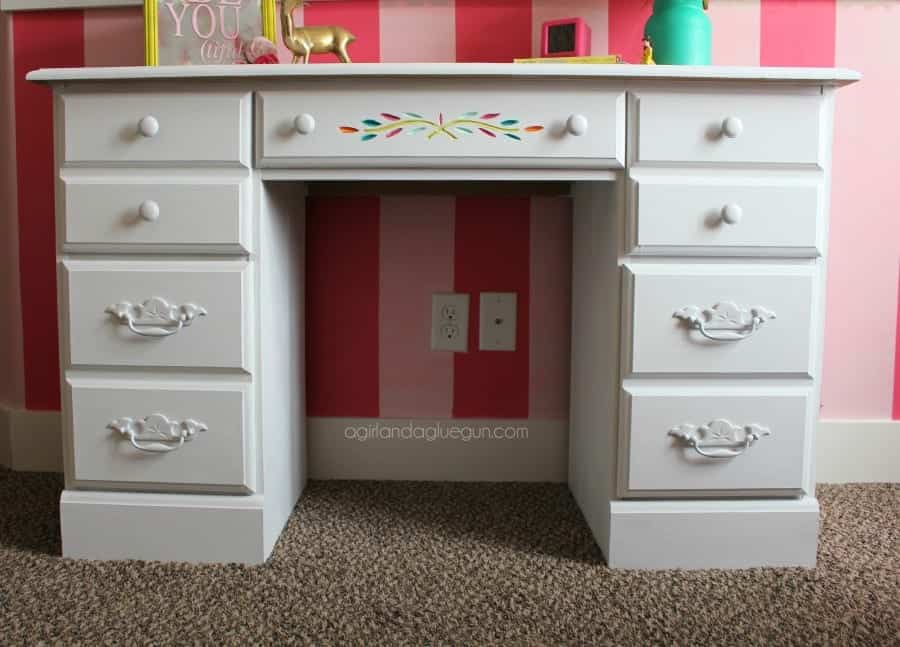 desk painted with chalk paint