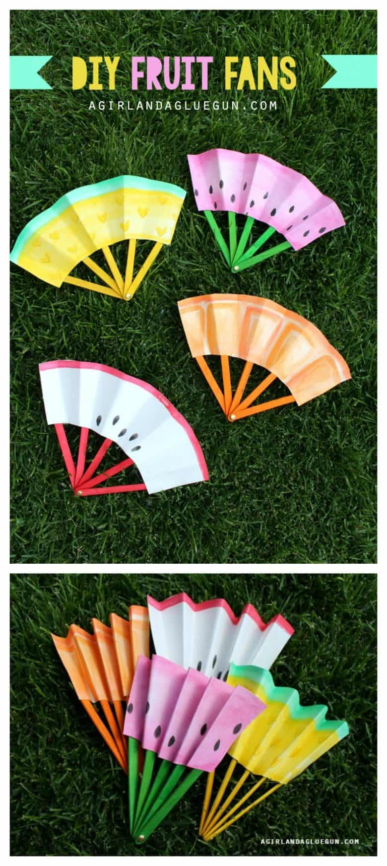 diy summer fruit fans that fold up a girl and a glue gun