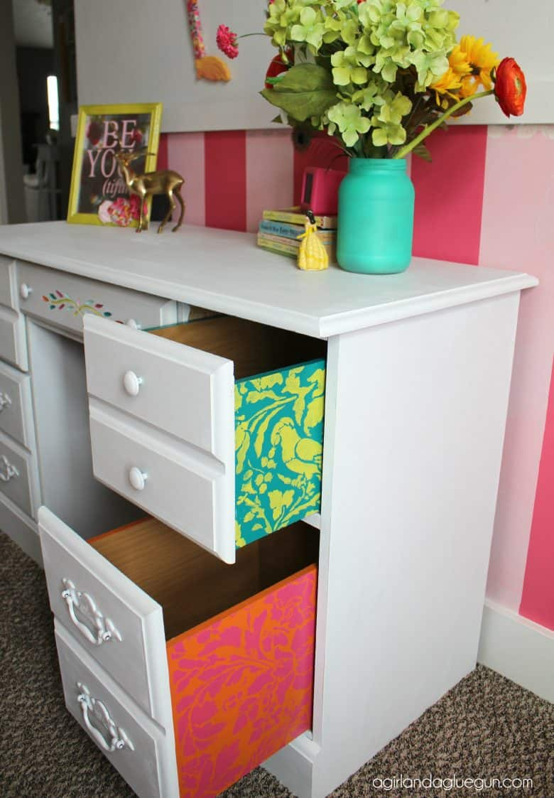 Thrifted Desk With A Fun Surprise A Girl And A Glue Gun