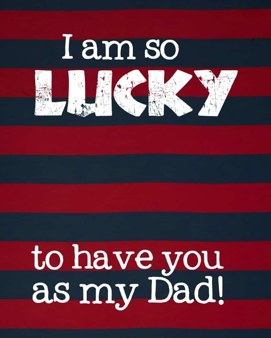 father's day lucky printable card