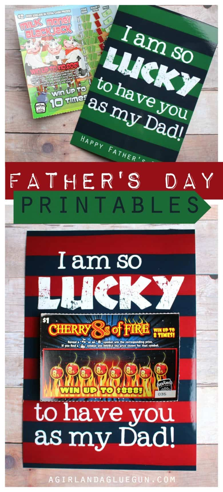 lucky father u0027s day printable a and a glue gun