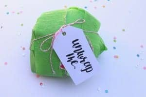 Fun package idea–crepe paper streamer ball filled with prizes!