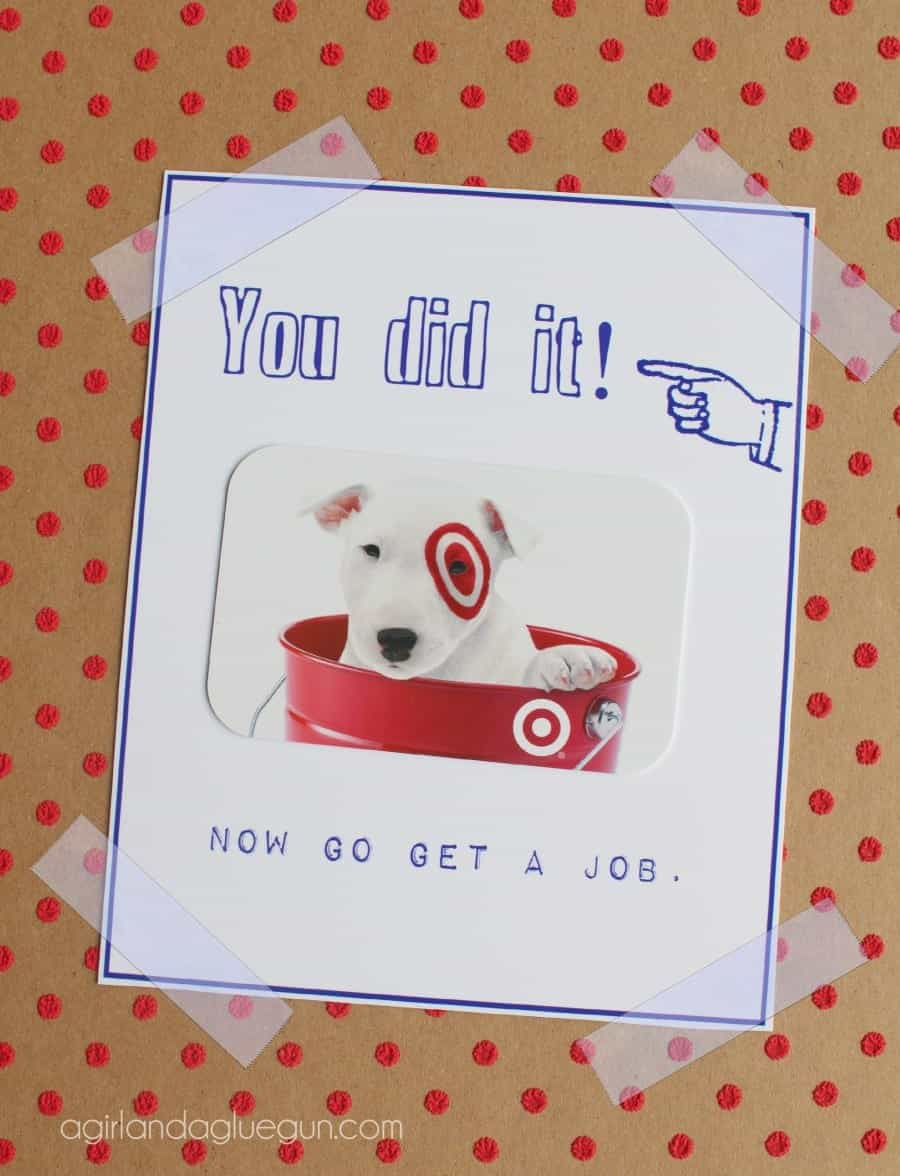 image regarding Free Printable Funny Graduation Cards known as Totally free commencement card printable! - A female and a glue gun