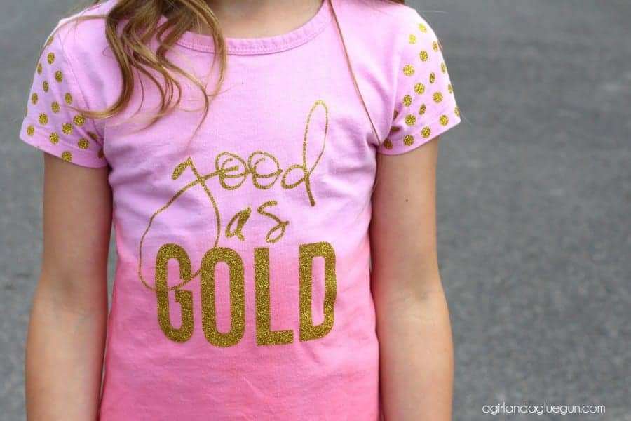 heat transfer vinyl good as gold personalized shirt with polka dot sleeves