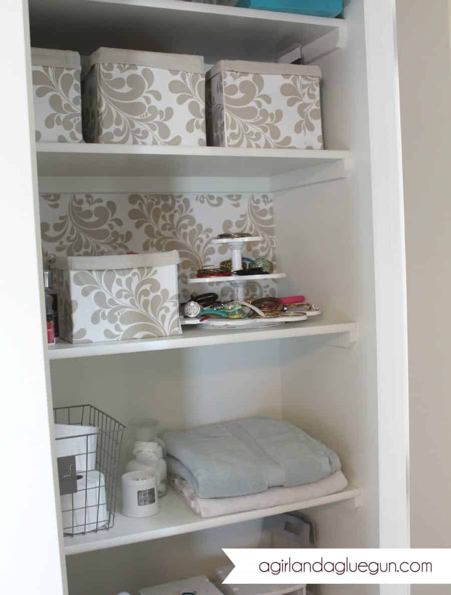 how to get the look of expensive baskets or boxes with shelf liner