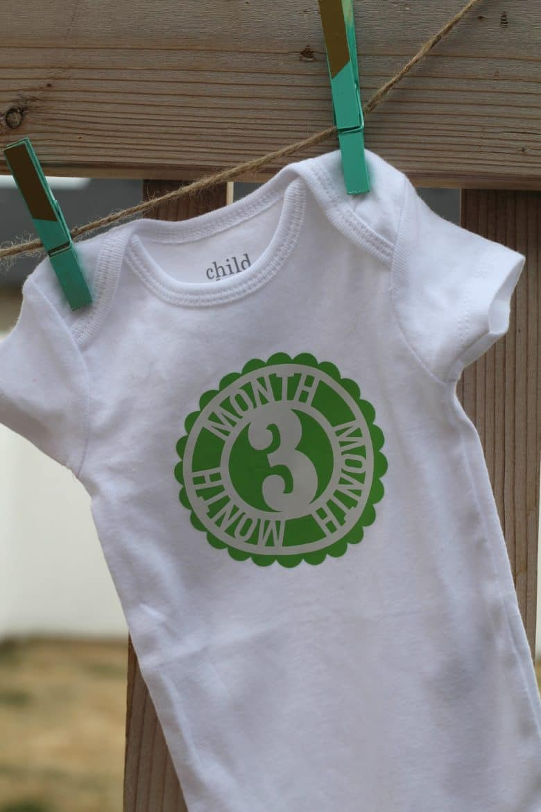 Month By Month Baby Onesie With Heat Transfer Vinyl A