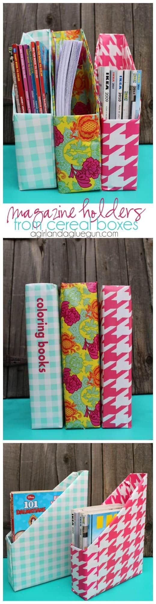 magazine holders from cereal boxes and wrapping paper
