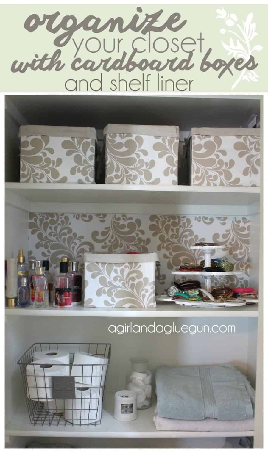 organize your closet with cardboard boxes and shelf liner