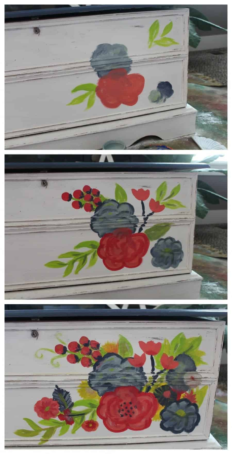 step by step painted cedar chest flower