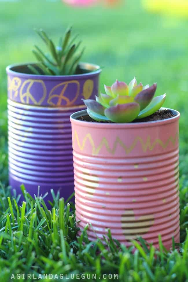 diy planters out of cans