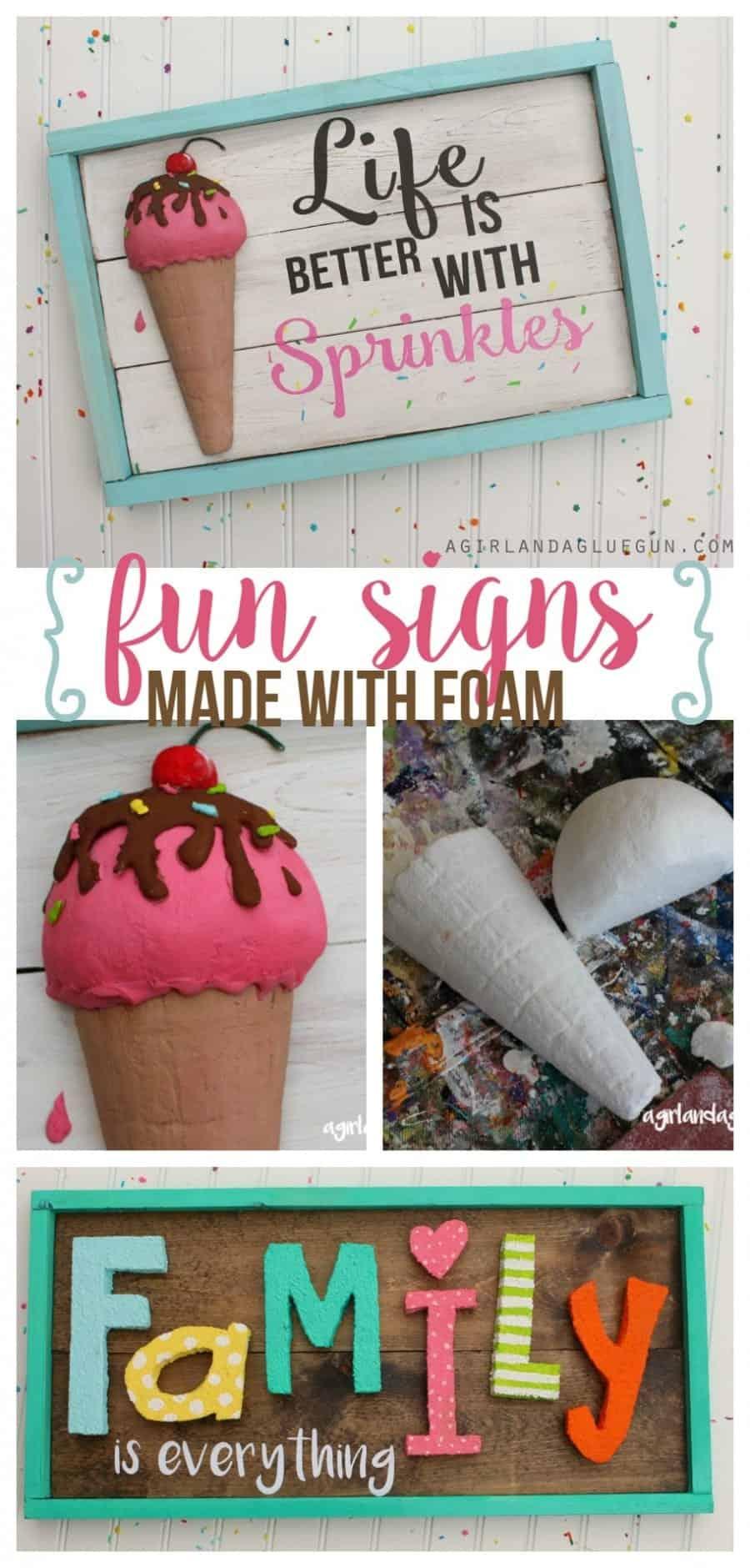 fun summer wood signs made with floracraft #makeitfun craft foam a girl and a glue gun