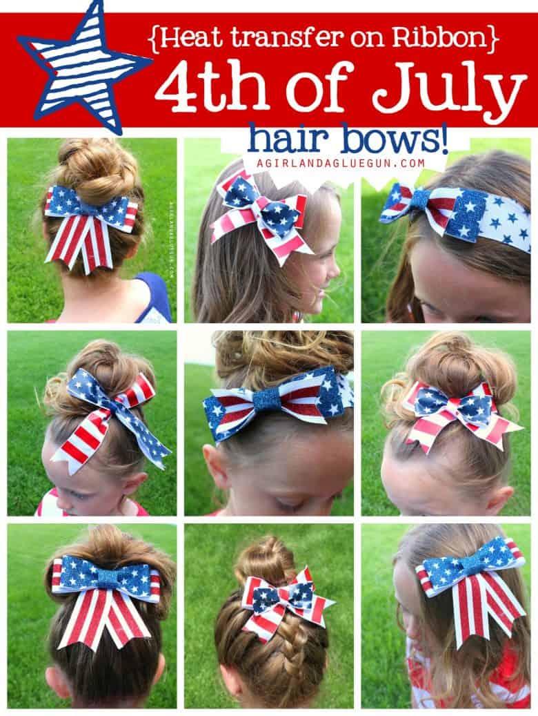 white and blue hair bows with vinyl a girl and a glue gun