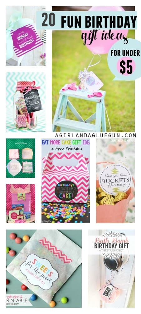 20 fun birthday ideas for under 5 a girl and a glue gun over 20 fun and unique birthday gift ideas that cost 5 dollars or less negle Choice Image