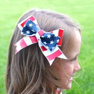 Red White and Blue hair bows with vinyl