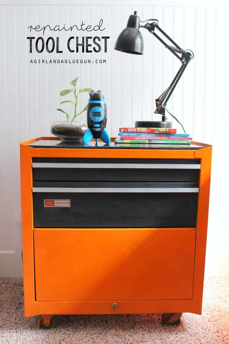 repaintetd tool chest turned night stand for boys room