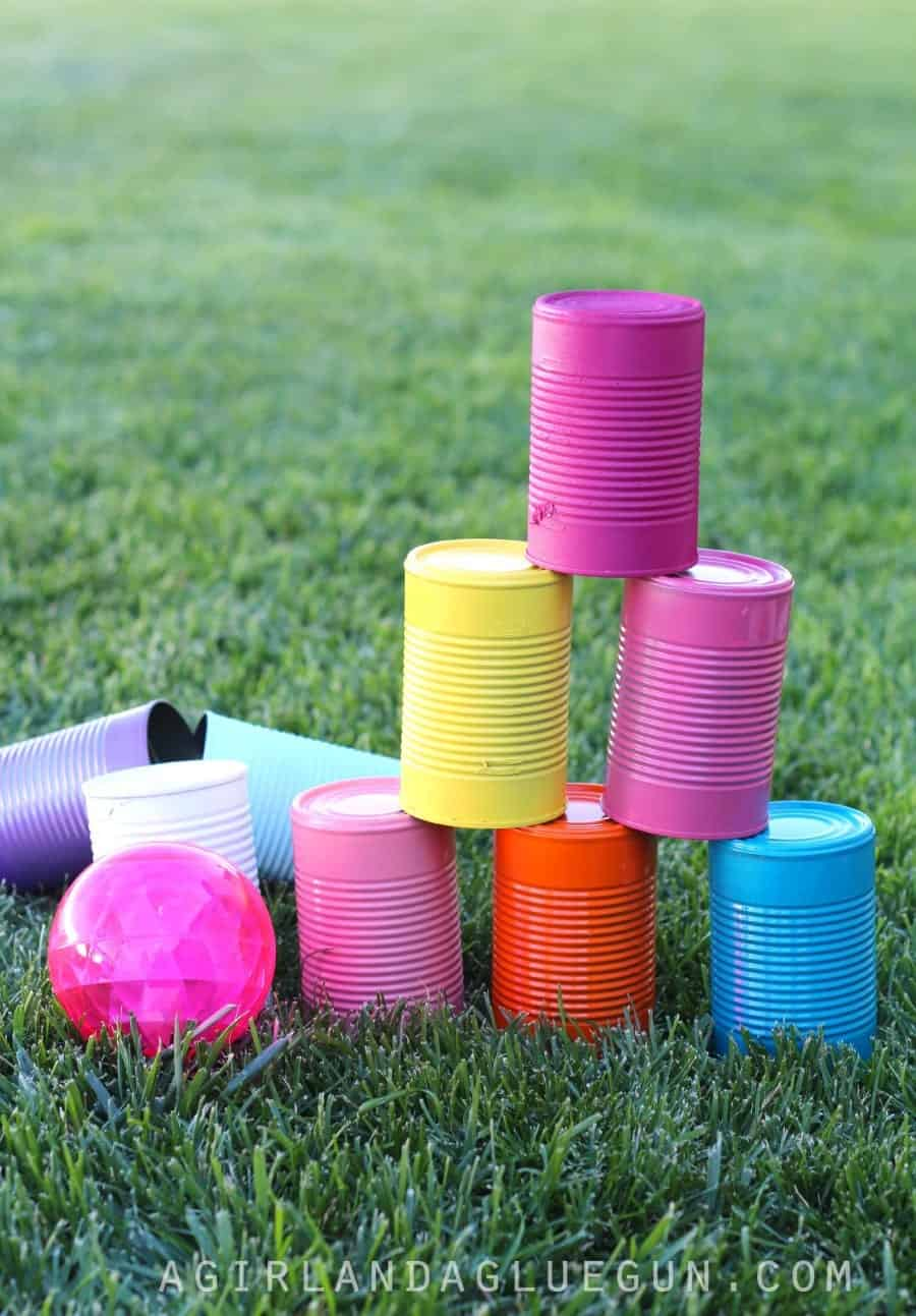 summer fun game tin can bowling