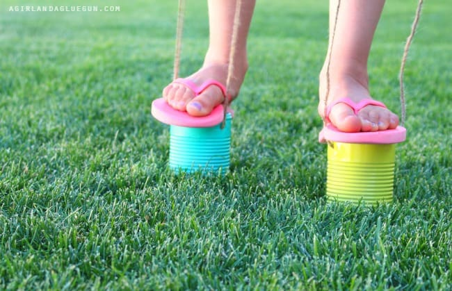tin can stilts easy diy for summer fun
