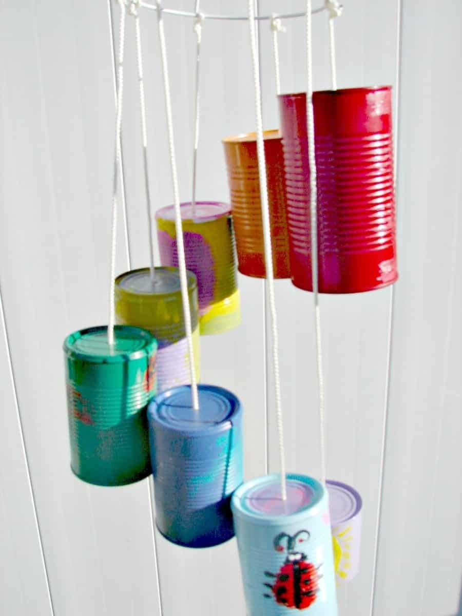 5 fun things to do with tin cans my mommy style for Wind chimes from recycled materials