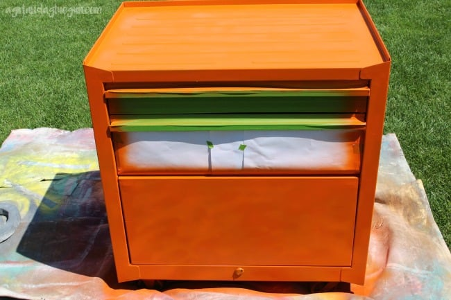 tool chest painted orange