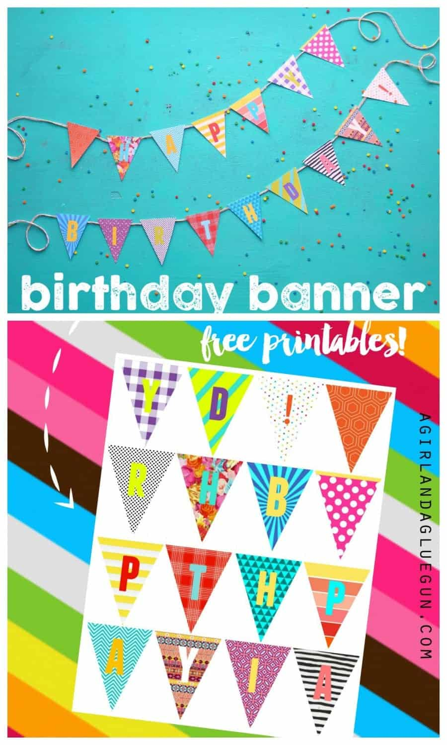 graphic relating to Free Birthday Banner Printable titled birthday banner printables - A woman and a glue gun