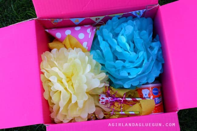 box full of party supplies