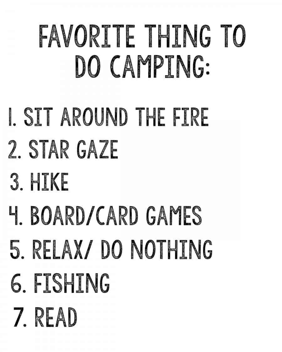 favorite thing to do camping