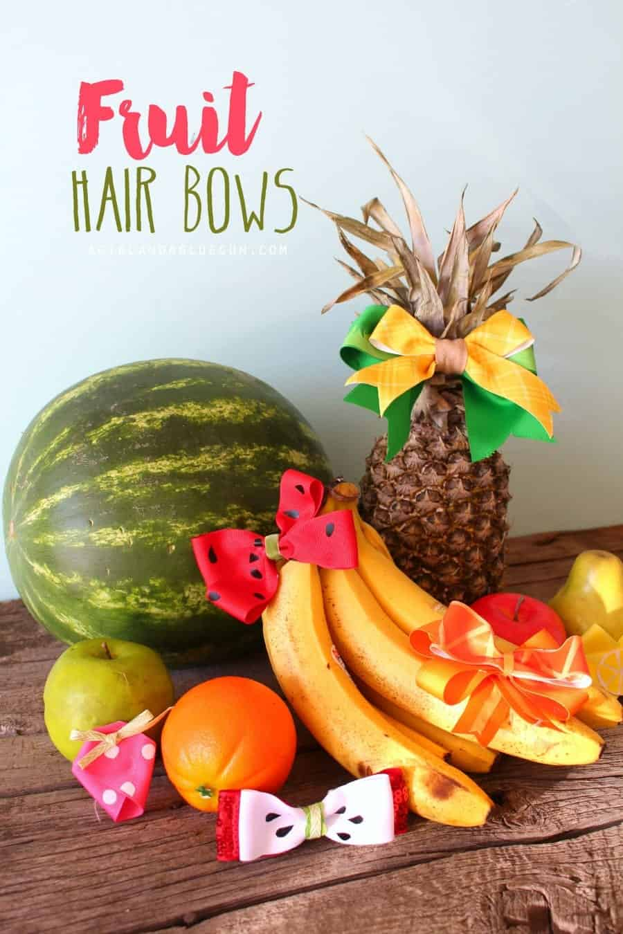 fruit hair bows with vinyl and hot glue