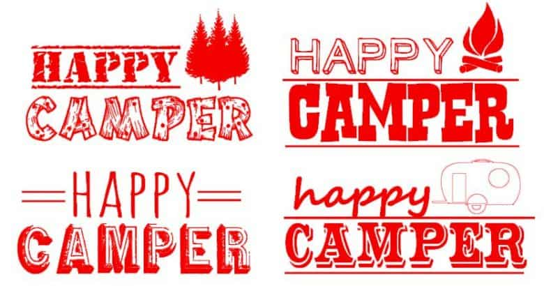 happy camper cut files for camping shirts with vinyl