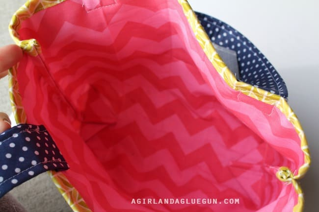 inside of purse pink chevron