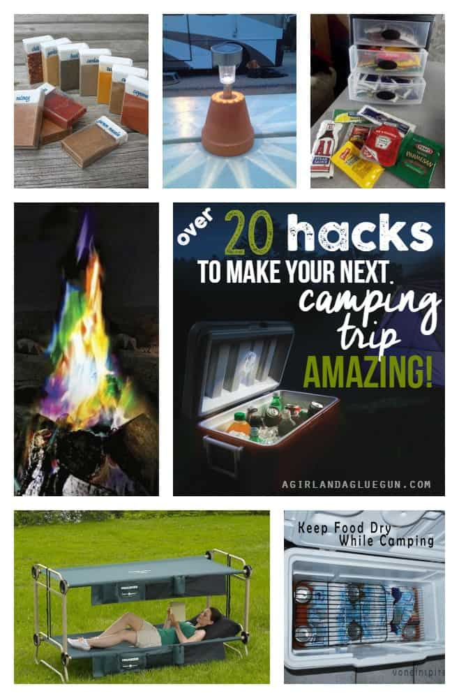 over 20 tips tricks and hacks to make your next camping trip amazing! a girl and a glue gun