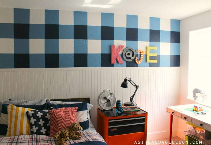 plaid wall with paint