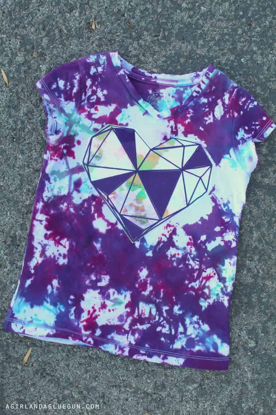 tie dye shirt with heart
