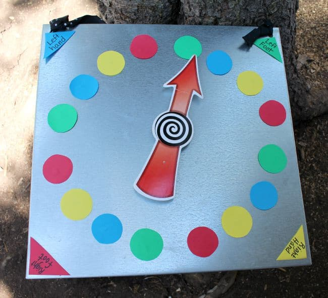photo relating to Twister Spinner Printable named Tenting video games! - A female and a glue gun