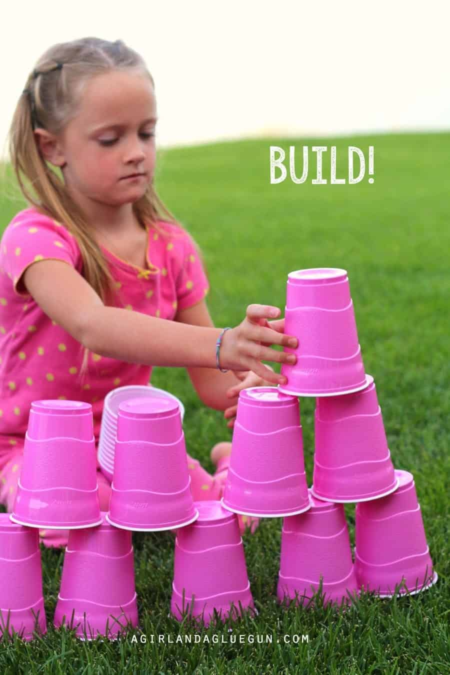 build a tower with plastic cups