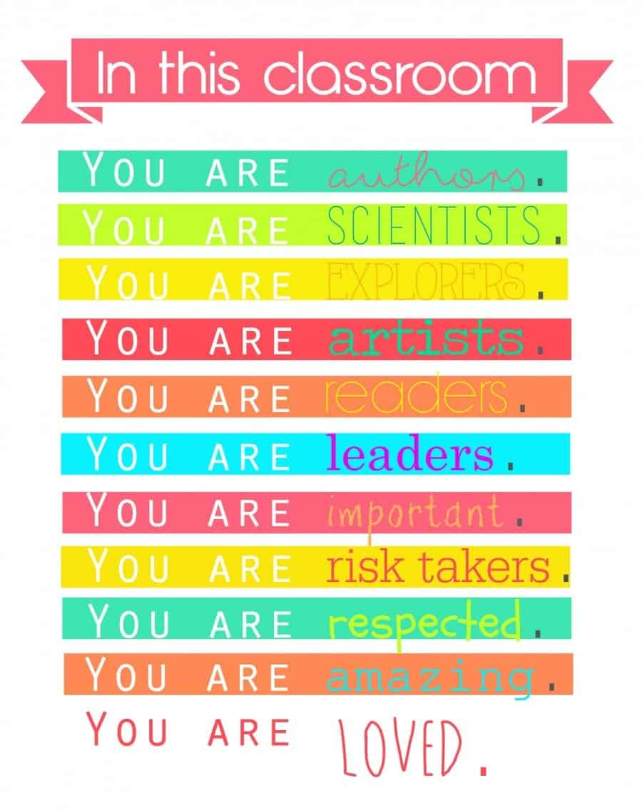 colorful classroom quote