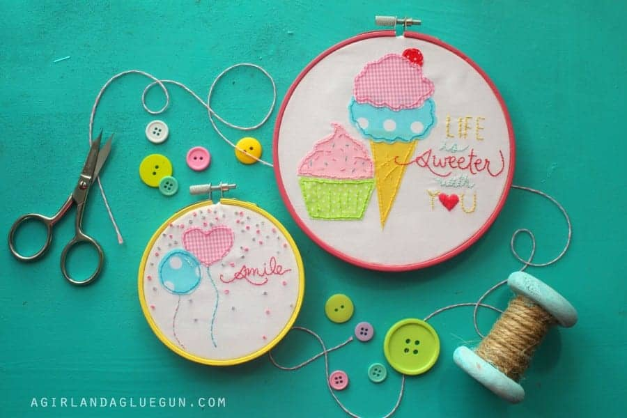 Embroidery hoop art kit a girl and glue gun