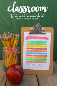 In this classroom–teacher printable for school