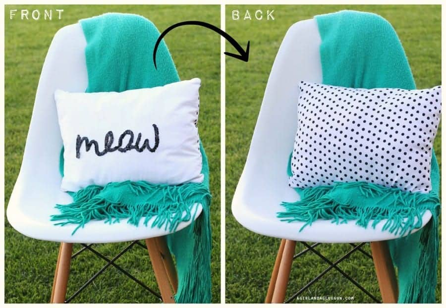 front and back hot glue pillow