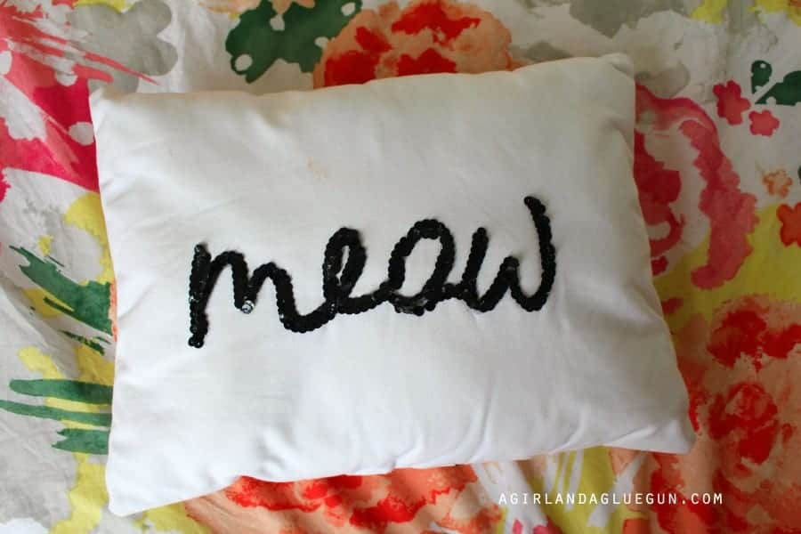 meow kitty pillow