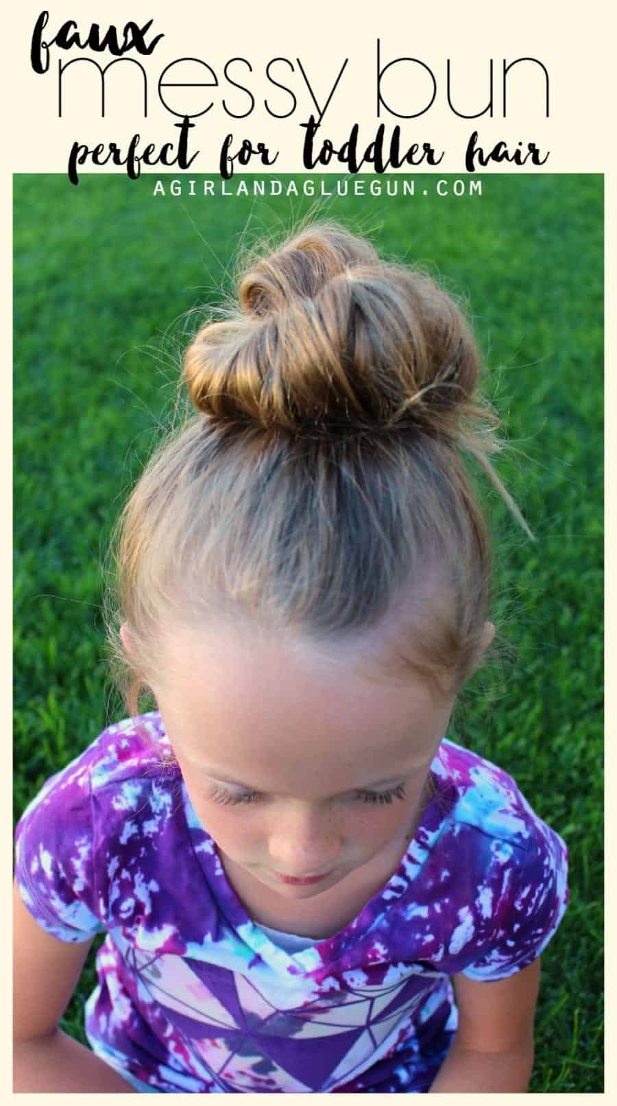 messy bun trick that is perfect for toddler hair!