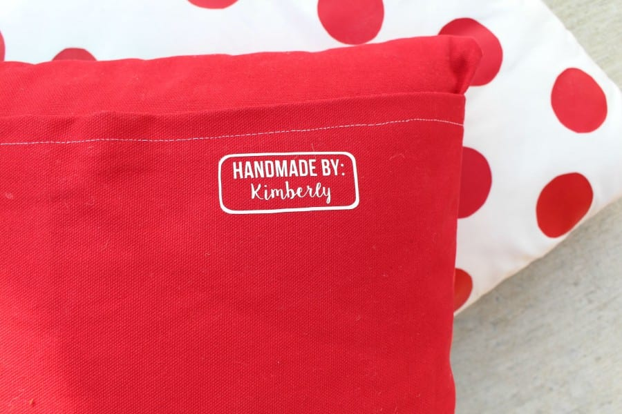 pillow with handmade tags