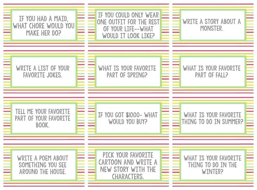 questions for kids writing