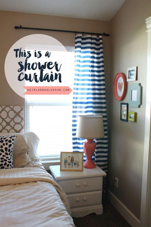shower curtain to regular curtains! - A girl and a glue gun