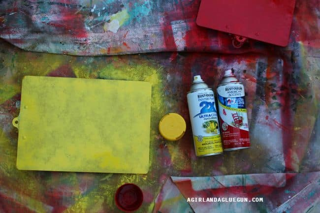 spray painted clipboards