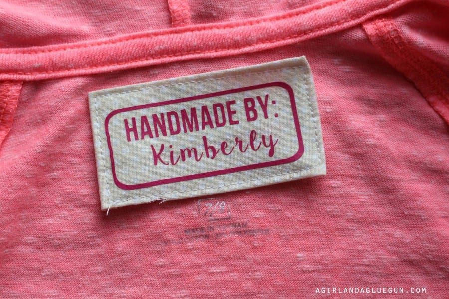 tag for homemade skirts and shirts