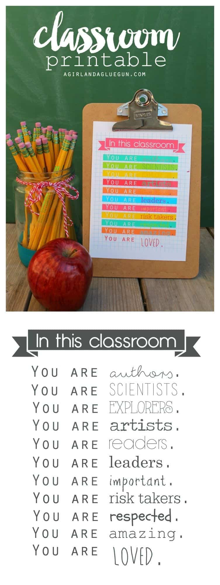 teacher printable for back to school. Perfect for any classroom!